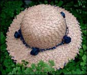 photo of natural hat with blue buds by Lesley Jenkins
