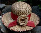 photo of natural hat with rose by Lesley Jenkins