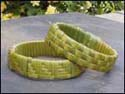 photo of a woven flax wristband